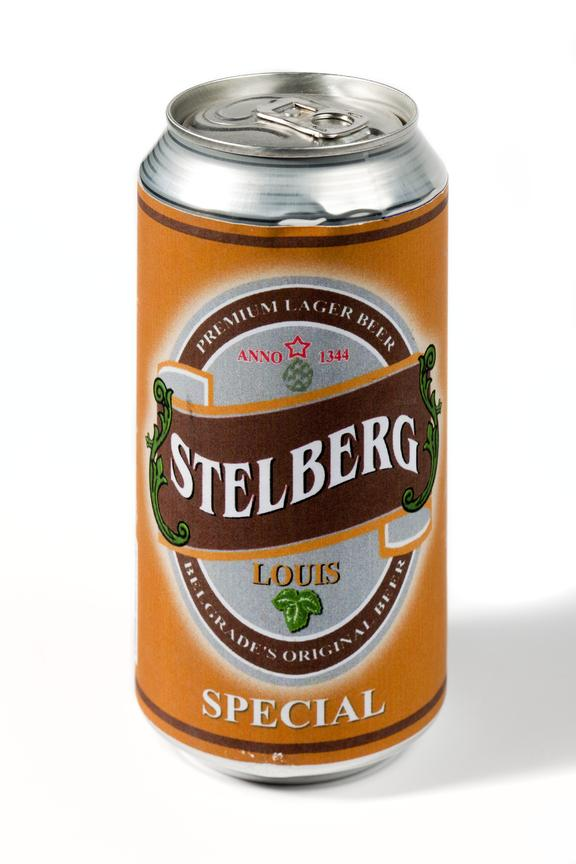 Beer can ' Stelberg premium lager' used in the making of shameless tv series..Straight on view on a white background.
