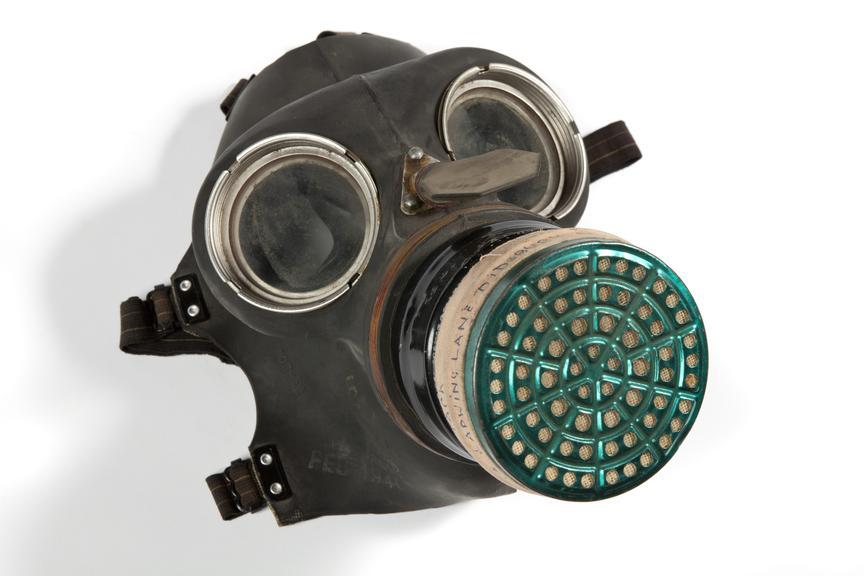 World War Two civilian duty respirator, 1940, .three quarter view on a white background.