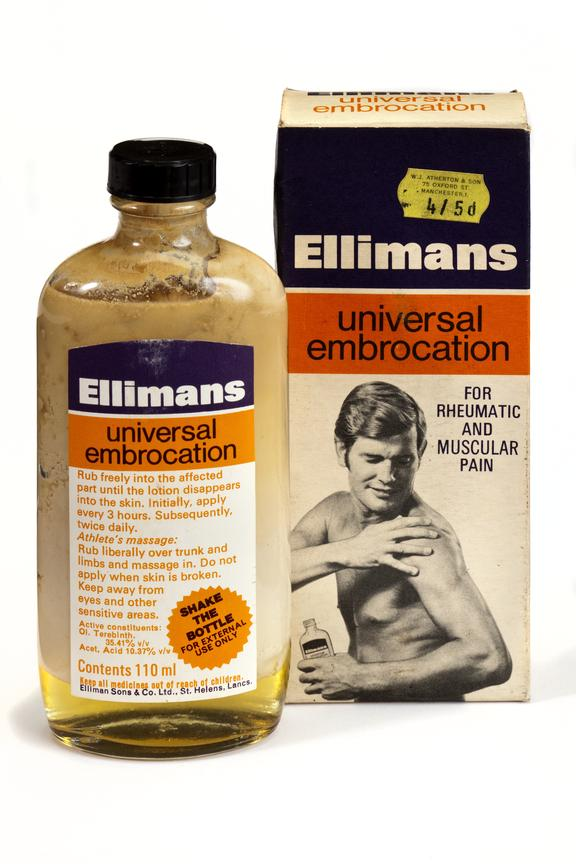110mil Ellimans Universal Embrocation. Card box containing labeled glass bottle with a plastic lid. Box has shop price