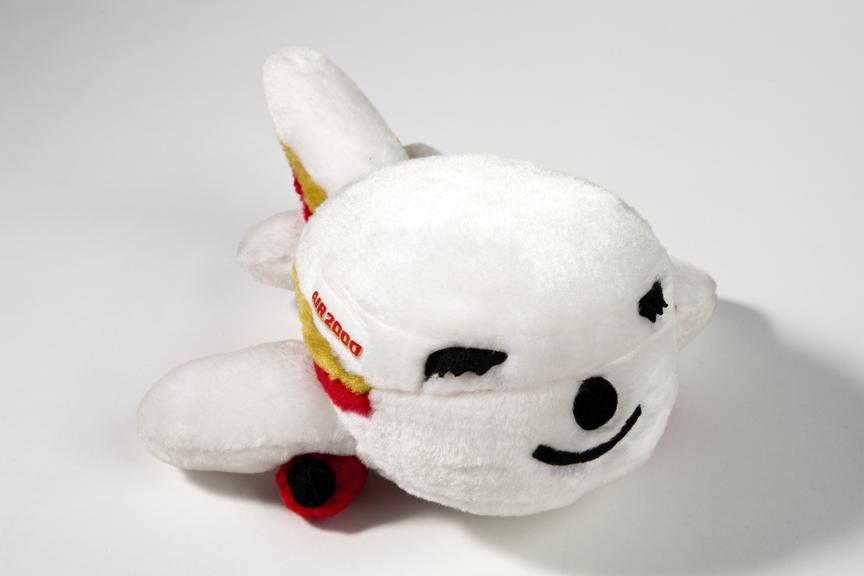 Soft toy in shape of airliner sold on Air 2000 flights as an inflight souvenir..Photographed on a white background.