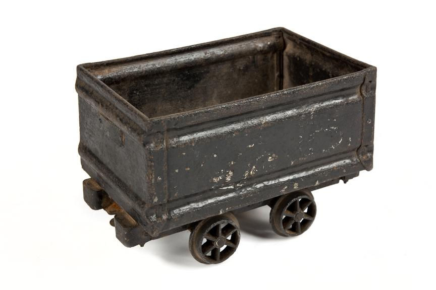 Model coal tub, made by Mr K. A. Chubb, 1966..Photographed 3/4 view on a white background.