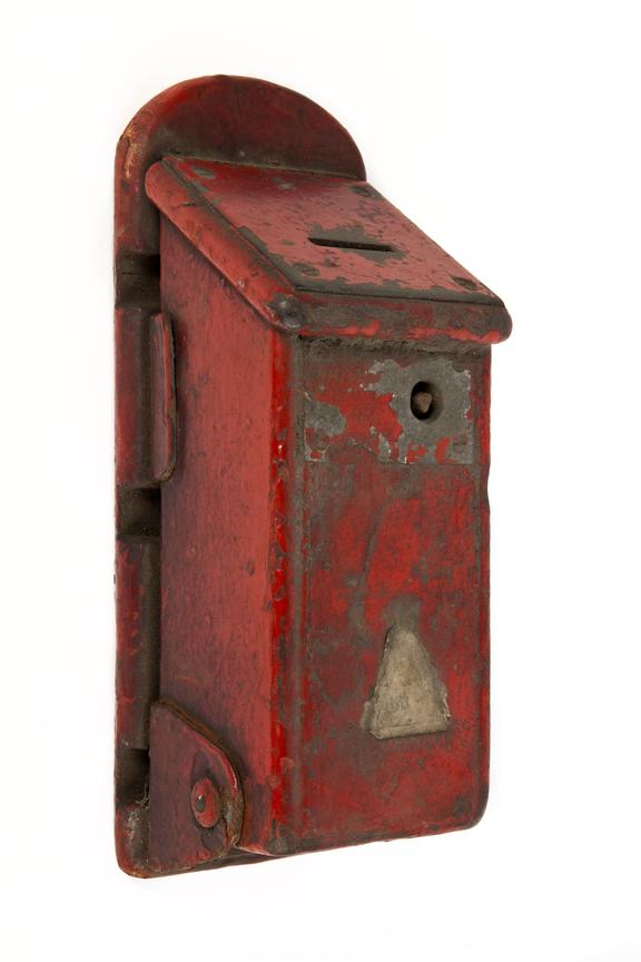 Box, perhaps for checks or tokens, coal mining..Photographed 3/4 view on a white background.