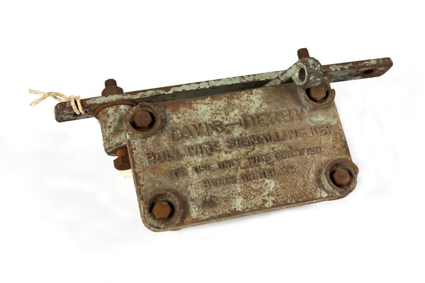 Signalling key, coal mining. C.1960.Photographed 3/4 view on a white background.