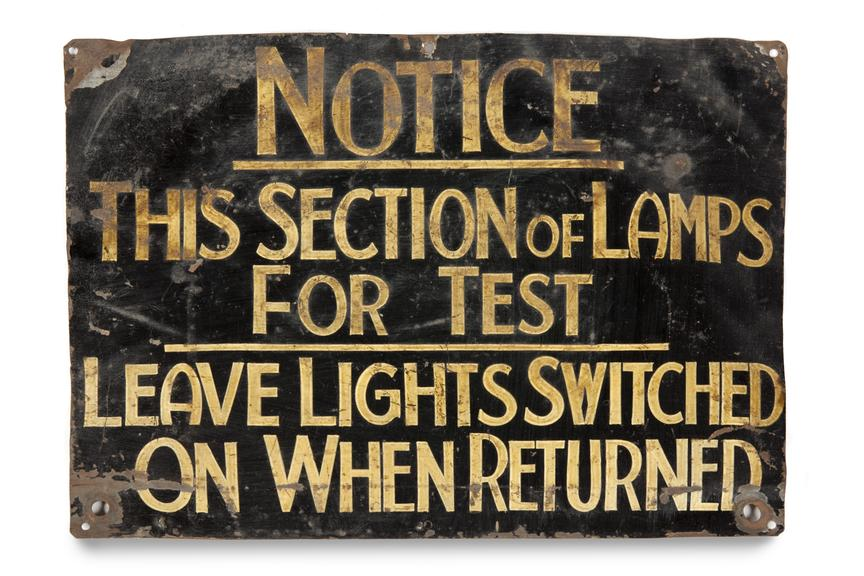 sign from Sandhole Colliery, C.1940..Photographed straight on view on a white background..