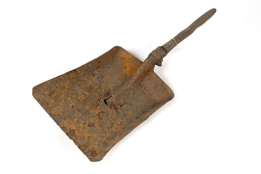 Shovel photographed 3/4 view on a white background.