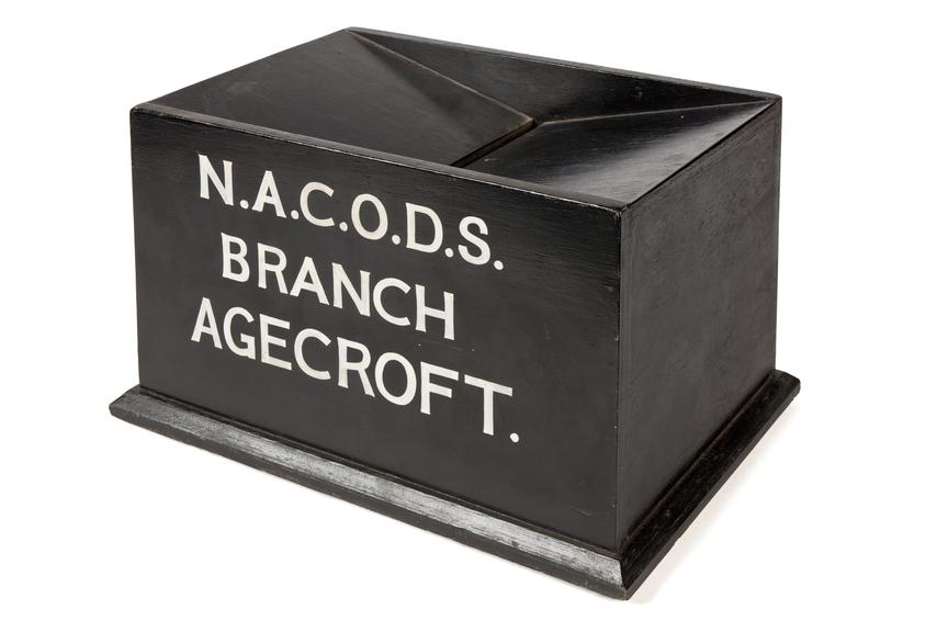 Ballot box, N.A.C.O.D.S. branch Agecroft..Photographed 3/4 view on a white background.