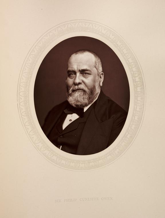'Sir Philip Cunliffe Owen', 1880       A photographic portrait of Sir Francis Philip Cunliffe Owen [1828-1894] taken by  Samuel Robert Lock [1822-1881] and