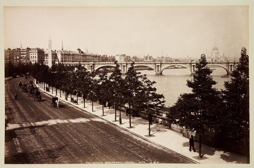 'The Victoria Embankment, London'       A photograph of Victoria Embankment in London, published by George Washington Wilson [1823-1893] in about 1890
