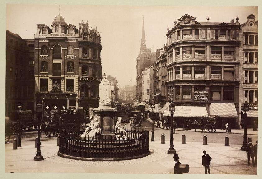 'Ludgate Hill From St. Paul's Cathedral'       A photograph looking down Ludgate Hill, London, taken from the steps of St