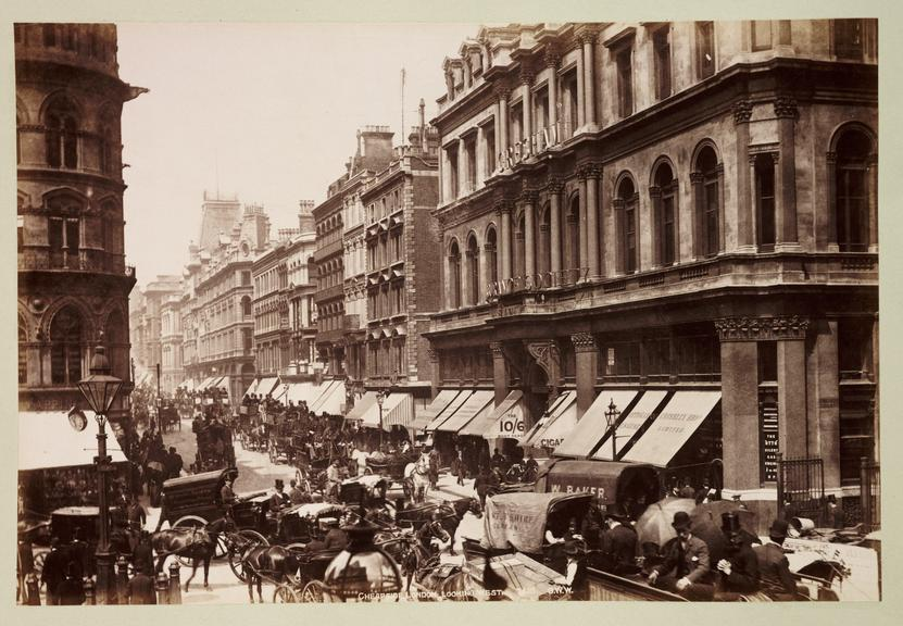 'Cheapside, London, Looking West'       A photograph of a crowded street in Cheapside, London, published by George Washington Wilson [1823-1893] in about 1890