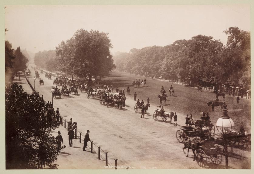 'Rotten Row, Hyde Park'       A photograph of Rotten Row, London's oldest bridle path, in Hyde Park