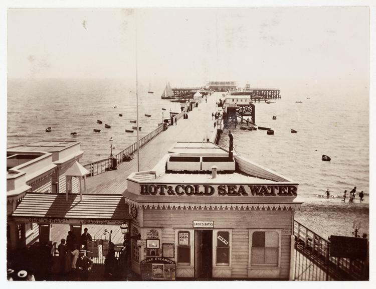 View of pier, about 1900       A snapshot photograph of the pier at Harwich, Essex,  taken by an unknown photographer in about 1890