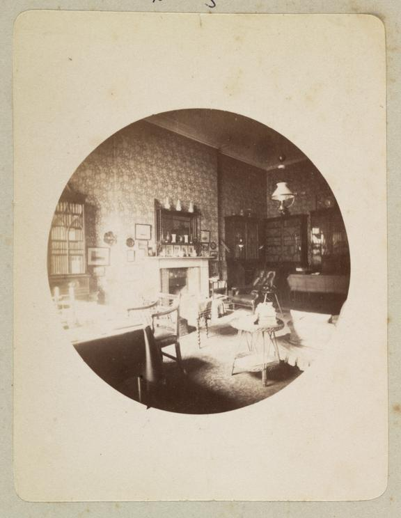 Domestic interior, 1888       A Kodak circular snapshot photograph of the interior of the library of 11 Montague Place, London