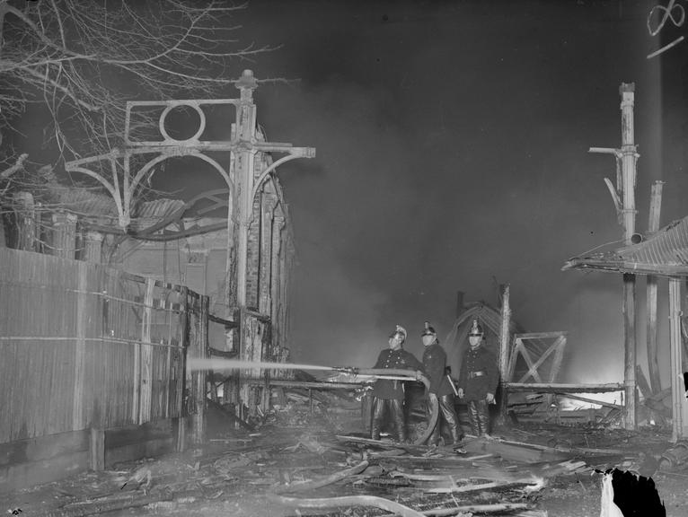 Crystal Palace fire       A photograph of firemen at the Crystal Palace fire, Sydenham, London