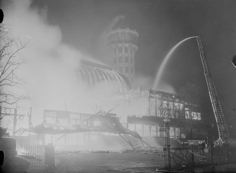 Crystal Palace fire       A photograph of the Crystal Palace fire, Sydenham, London