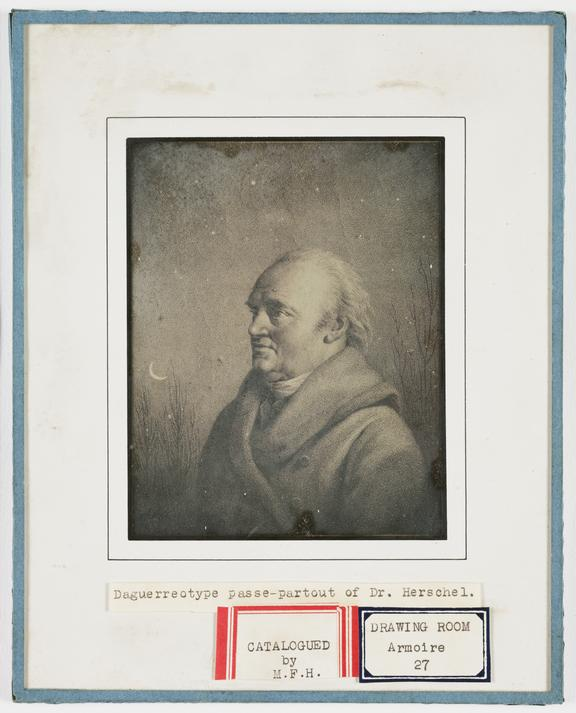 'Daguerreotype passe-partout of Dr Herschel', about 1850       A daguerreotype of William Herschel (1738-1822),  copied from an engraving by James Godby of a portrait by Rehberg