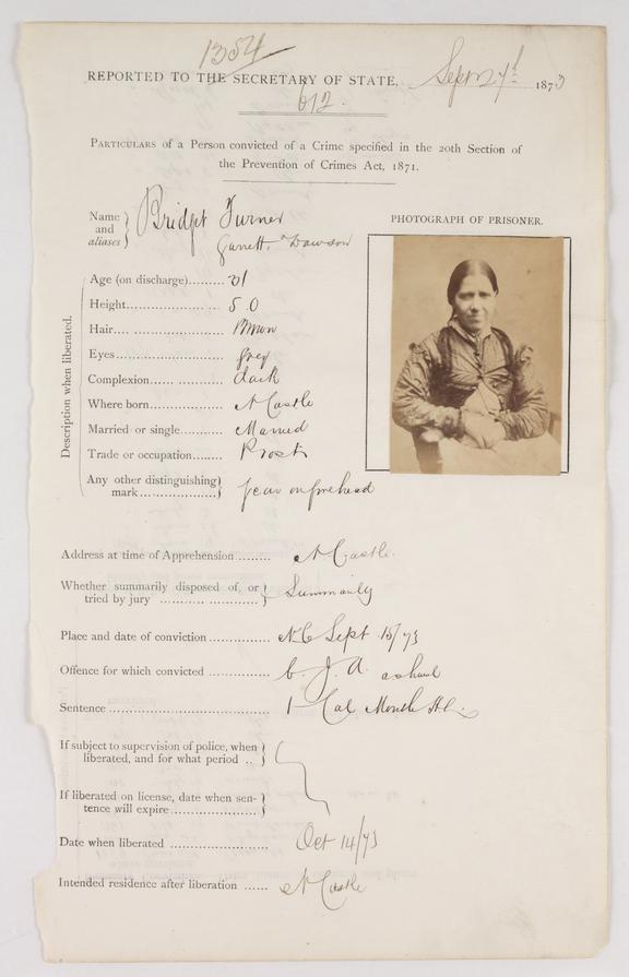 Prison record sheet       A page from a prison record ledger containing a portrait and information about a convicted criminal, Bridget Turner