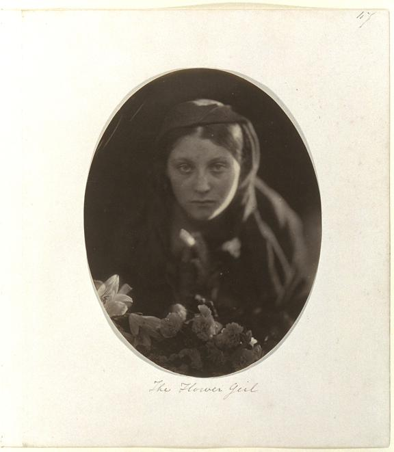 'The Flower Girl', 1865       A photographic study of Mary Ann Hillier (1847-1936 ), posed as a flower girl