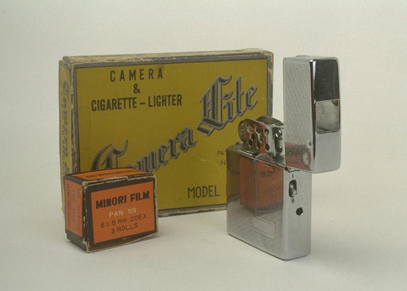 Camera Lite Camera, Model B       An unusual combination of subminiature cine camera and cigarette lighter