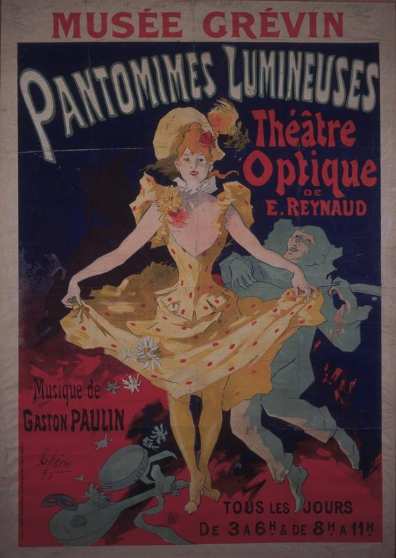 'Pantomimes Lumineuses' poster       Lithographic poster by Jules Cheret of the Theatre Optique of Emile Reynaud, Pantomimes Lumineuses