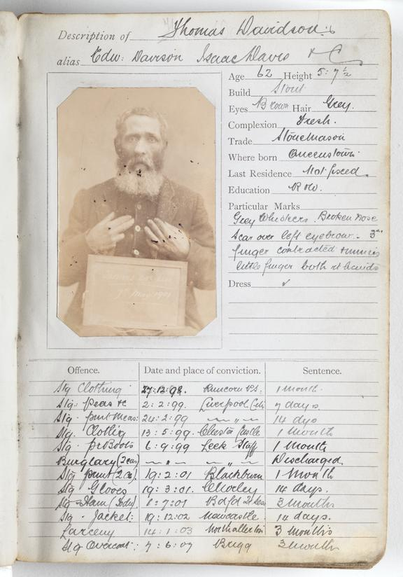 Criminal record sheet       A page from a criminal record ledger compiled by the West Yorkshire police in 1903, containing portraits