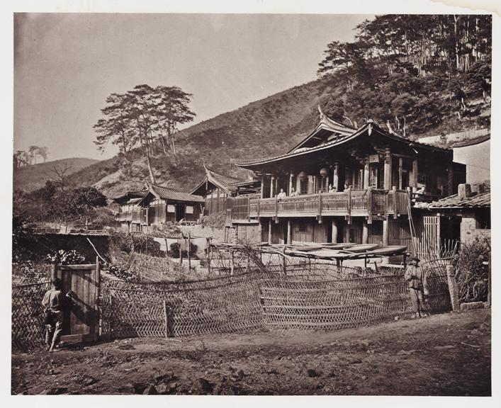 'A Farm House'       A photograph of a group of Chinese farm buildings, taken by John Thomson [1837-1921] in about 1871