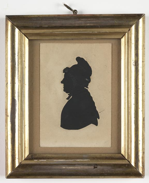 Silhouette of a woman       A framed silhouette portrait of a woman, created by an unknown artist in about 1810