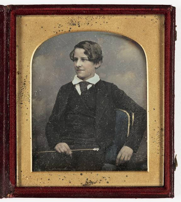 Portrait of a young man, about 1850       A hand-coloured daguerreotype of a young man, taken by William E. Kilburn (1819-1891) in about 1850