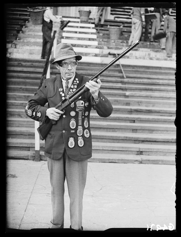 Clay pigeon shooting champion       A photograph of a clay pigeon shooting champion, taken by Saidman for the Daily Herald newspaper on 21 October, 1938