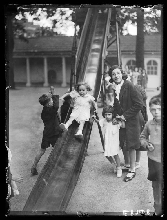 Children's playground       A photograph of children playing at the Foundling Site Playing Fields, London