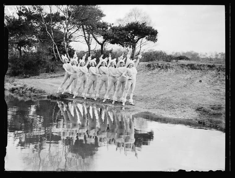 The Sherman Fisher Palladium Girls rehearsing their Bunny Dance       A photograph showing the Sherman Fisher Palladium Girls dancers dressed for a performance