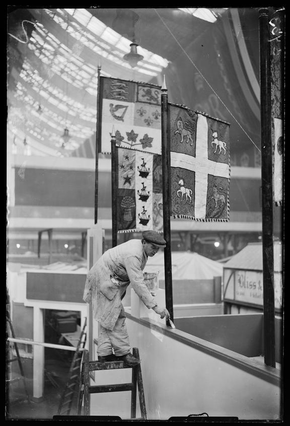 British Industries Fair       A photograph of final preparations for the British Industries Fair, held at Olympia