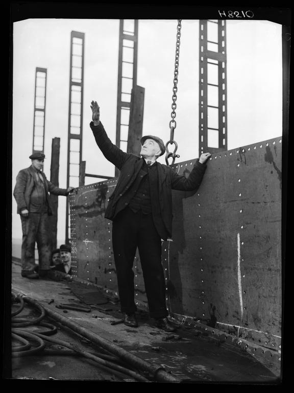 Shipyard workers       A photograph of workers in the Swan Hunter Shipyard on Tyneside