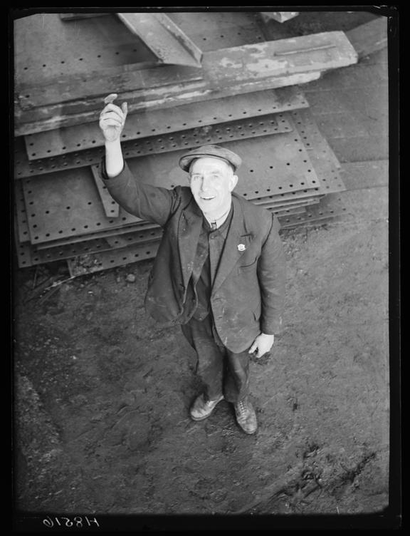 Shipyard worker       A photograph of a worker in the Swan Hunter Shipyard on Tyneside