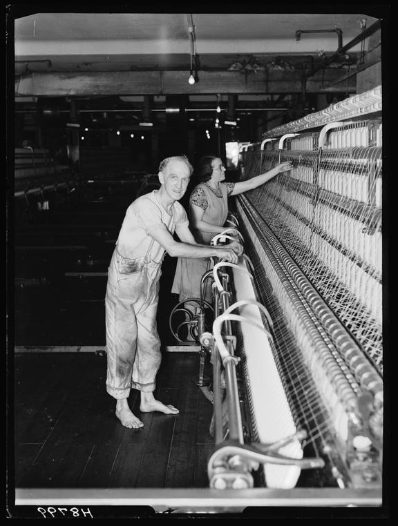 Mill worker (Mule Spinner)       A photograph of a mill worker, taken by Bishop Marshall for the Daily Herald newspaper on 21 January, 1940
