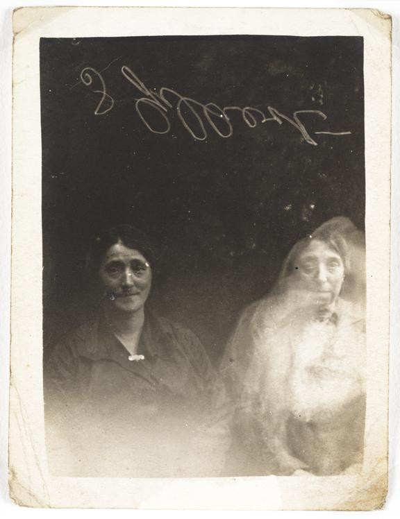 Two women with a 'spirit'       A photographic portrait of two women, possibly taken by William Hope (1863-1933) in about 1920