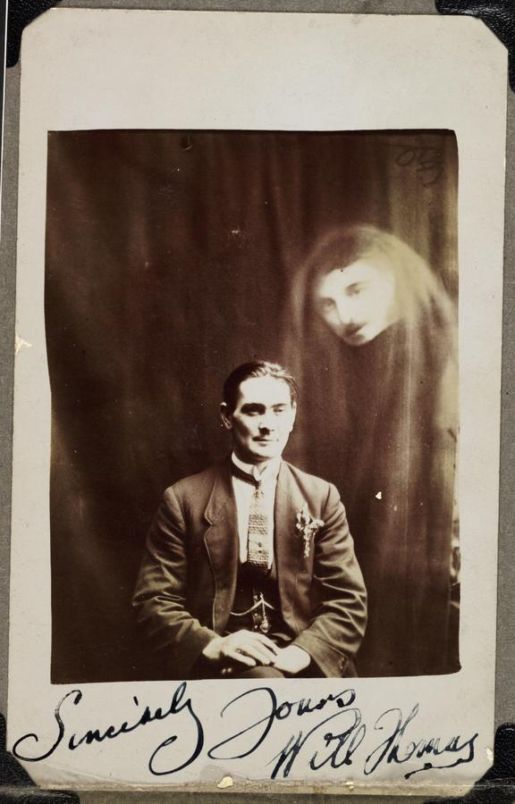 Will Thomas with an unidentified 'spirit'       A photograph of Will Thomas, taken by William Hope (1863-1933) in about 1920