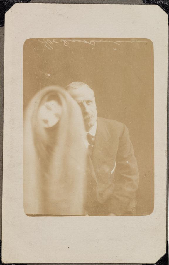 Elderly man with 'spirit'       A photograph of an elderly man, taken by William Hope (1863-1933) on 5 April, 1920