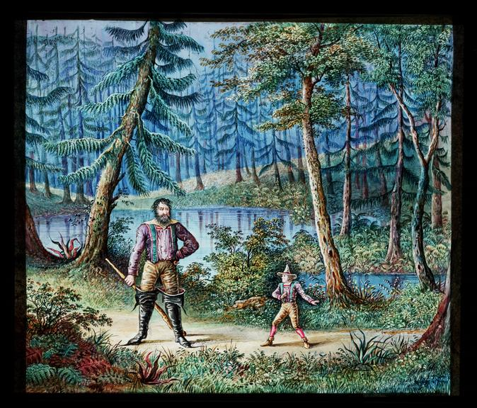 Royal Polytechnic Institution lantern slide       A hand-painted, large format magic lantern slide depicting a scene from the German fairy tale 'The Heart of Stone'