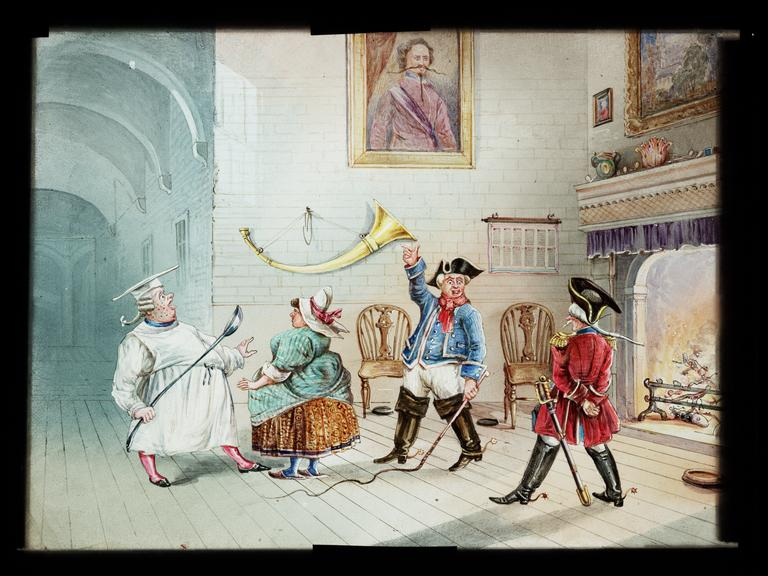 Royal Polytechnic Institution lantern slide       A hand-painted, large format magic lantern slide depicting a scene from 'The Adventures of Baron Münchhausen'