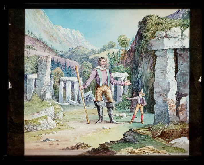 Royal polytechnic Institution lantern slide depicting a scene from the German fairy tale 'The Heart of Stone'
