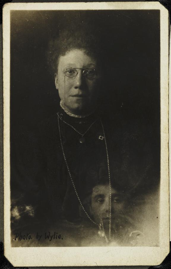 Mrs Bentley and the 'spirit' of her deceased sister       A photograph of Mrs Bentley, once the President of the British Spiritualists Lyceum Union, taken by Wylie, about 1920