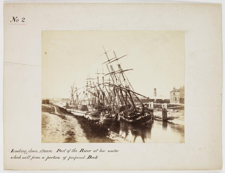 'Looking Downstream: Part of The River At Low Water...'       A photograph of sailing ships moored on the River Nene, in Wisbech, taken by Samuel Smith (1802-1892) on 18 September
