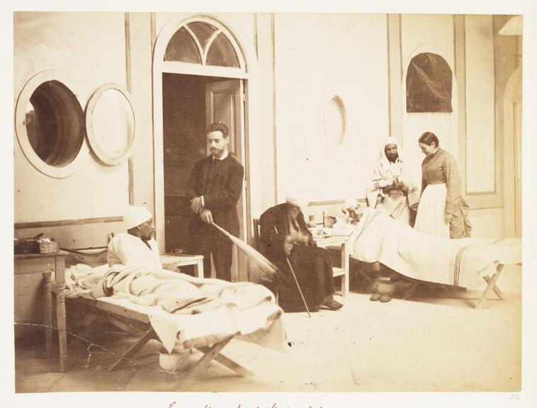 'Lady Strangford's Hospital...', 1882       A photograph of wounded soldiers receiving treatment in hospital, taken by an unknown photographer in December 1882