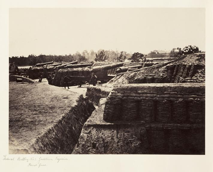 'Federal Battery No1...'       A photograph of a heavy gun battery at Yorktown,  Virginia, America