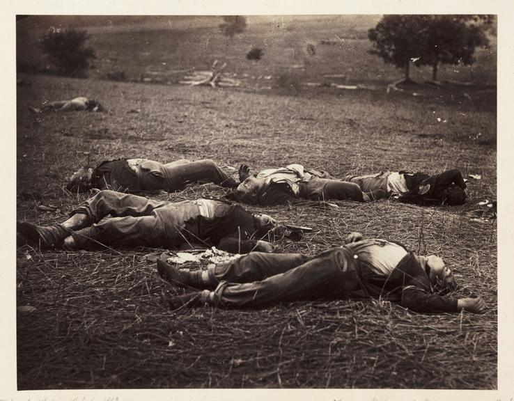'Gettysburg 1st day...'       A photograph of dead soldiers on the battlefield at Gettysburg in Pennsylvania, America