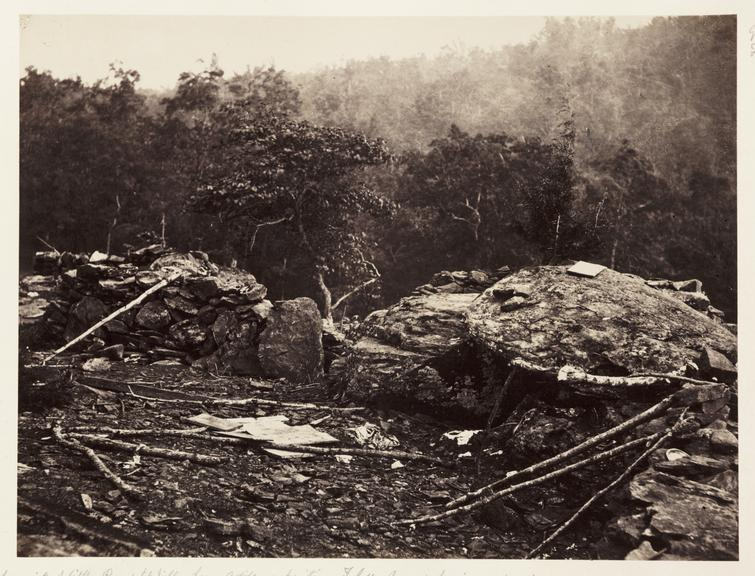Gettysburg. The summit of Little Round Top Hill'       A photograph of the Union defensive position at Little Round Top on the battlefield at Gettysburg in Pennsylvania