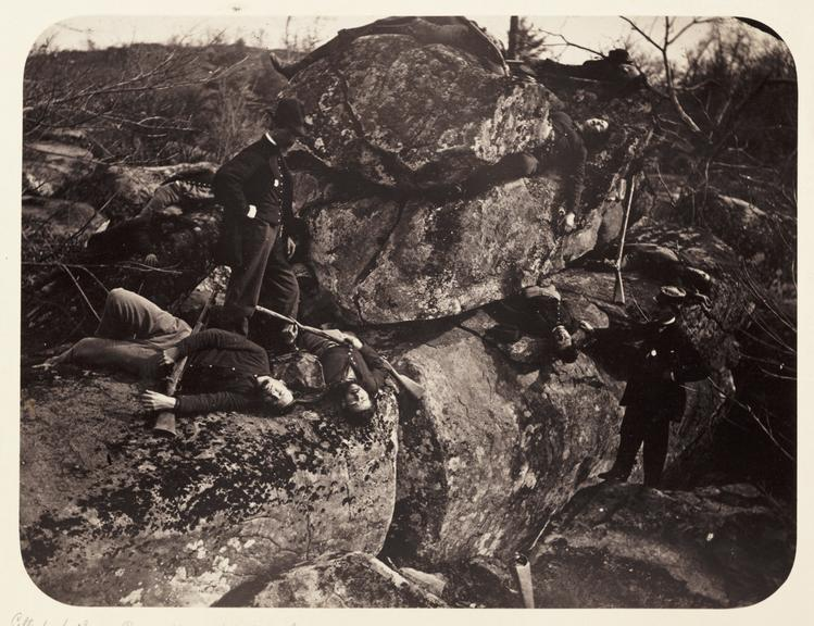 'Gettysburg - 3rd Day. Rocks Opposite Little Round Top Hill'       A photograph of dead bodies on the battlefield at Gettysburg in Pennsylvania, America
