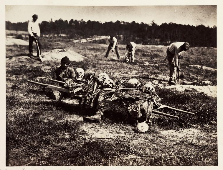 'After the War...Field at Cold Harbour'       A photograph of men collecting bones on the field of the Battle of Cold Harbor in Virginia, America