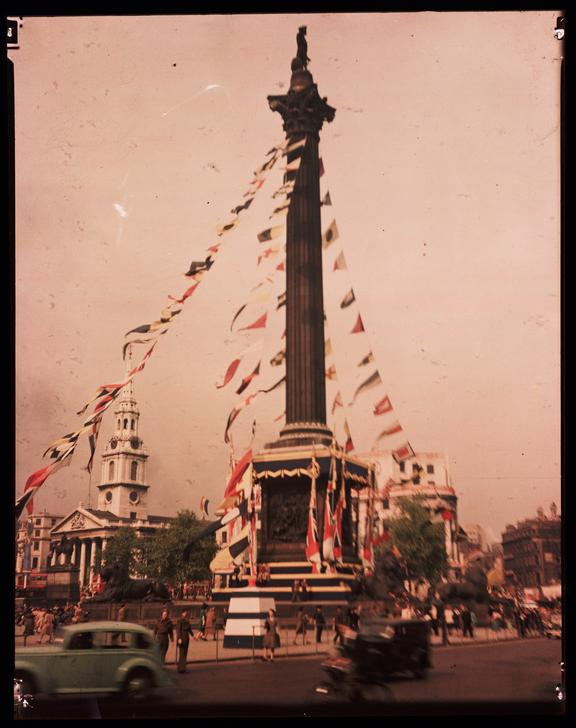 Trafalgar Square       A Dufaycolor colour transparency of Trafalgar Square in London, taken by an unknown photographer in 1945
